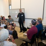 Prof. William Kolbrener leads a session at the recent Limmud conference in Jerusalem (photo credit: Yehoshua Halevi)